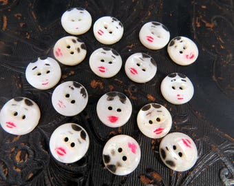 Lot of 20 Vintage FACE Buttons Hand Painted Mother of Pearl Sewing Buttons