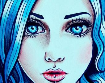 ORIGINAL PAINTING Watercolor Self Portrait 5x7 inches - Girl Portrait Blue Hair