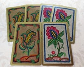 6 Crewel Embroidery Flowers Vintage Playing Cards, 3/3