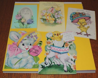 1950s Set of 5 Easter Cards