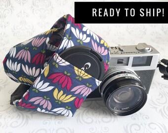 READY TO SHIP - Camera Strap, 2 Lens Cap Pockets, Padded, Travel Photographer, Nikon, Canon Camera, Christmas , Photographer Gift - Blossom