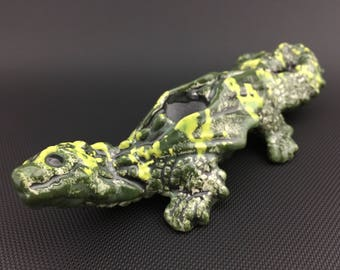 Ceramic Baby Dragon // Double Layer Green Glass Glazed Pipe