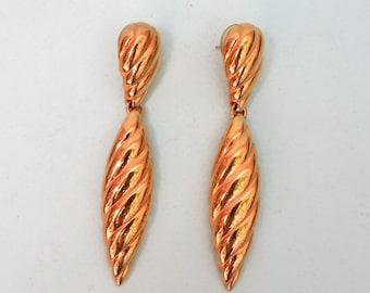 Vintage 1980's Large Gold Dangle Statement Earrings/80s Gold Dangle Earrings
