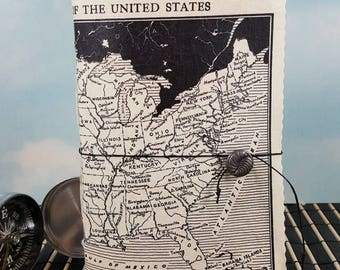 United States Map Travel Journal with Vintage Black and White  Political Divisions Map Cover