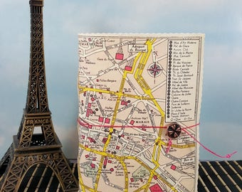 Petite Romantic Paris France Travel Journal with Vintage Sightseeing City Map Cover