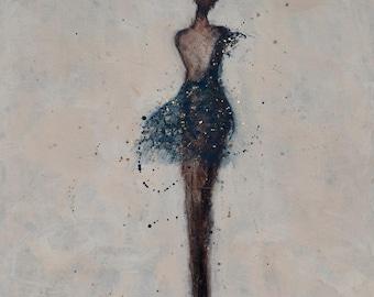 Dancer Painting Figure Painting Ballroom textured Indigo Blue gold flakes  Always 18 x 24 x 1.5