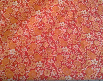 Orange and White Floral Print Cotton fabric 2 1/2 Yards X1175