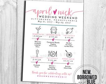 Printable Wedding Itinerary Single-Sided