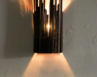 "Wine Barrel Cityscape Wall Sconce - CITY - ""Astu"" --100% RECYCLED"