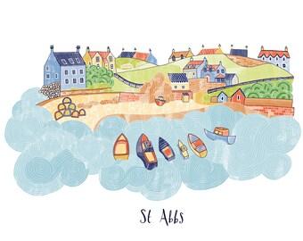 St Abbs Illustration Print