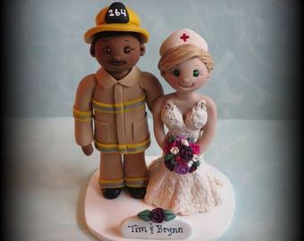 Wedding Cake Topper, Custom Cake Topper, Firefighter, Nurse and Fireman, Polymer Clay, Personalized, Wedding Keepsake