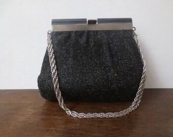 Vintage '60s HL Harry Levine Black Glittery Lurex Purse w/ Silver Rope Chain Handle