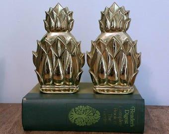 Pair of Brass Pineapple Bookends Shelf Decor