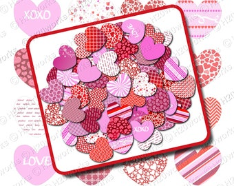 Pink Red Hearts Clipart Set  - White, Valentines Day, Transparent Background, Clip Art, Valentines, INSTANT DOWNLOAD