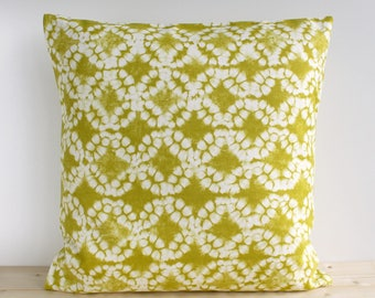 Tie-dye Pillow Cover, Batik Pillow Cover, 16x16, 18x18, 20x20, Throw Pillow, Decorative Pillow, Cushion Cover - Tie-dye Circles Chartreuse
