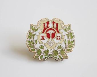 Chi Omega Crest Pin / Enamel Pin Sorority Crest / Chi O Coat of Arms Pin / Enamel Lapel Pin / Greek Licensed Pin / Chi Omega Sorority