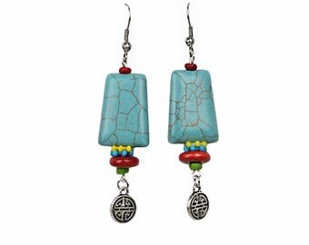 Dangle Bead Earrings Colorful Bohemian Look With Howlite Turquoise Beads and Hypoallergenic Ear Wires