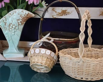 Set of Three Handled Small Baskets