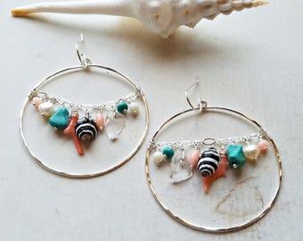 Shell Cluster Earrings, Turquoise Coral Hoops, Beach Dangle Earrings, Large Cluster Dangle