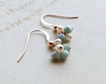 Very Tiny Larimar Earrings, Pearl Larimar Cluster, Tiny White Pearl Drops, Small Larimar Dangle
