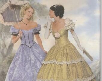 Southern Belle Dress Civil War Era Gown Reenactment Misses Size 6 - 8 - 10 Uncut Butterick 6195