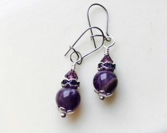 Purple Agate Earrings, Deep Purple Earrings