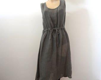 Vintage FLAX Linen Dress - steel grey semi-sheer bohemian casual sun dress size M
