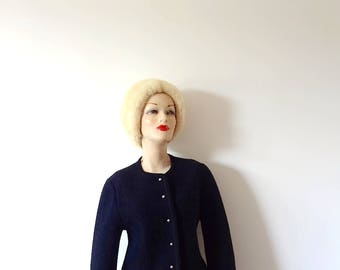 Vintage Black Boiled Wool Sweater - classic wool cardigan size M