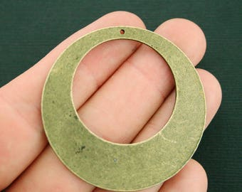2 Circle Pendant Charms Antique Bronze Tone 2 Sided Large Size Modern Design - BC1714 NEW2