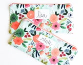 Floral Her, Personalized Gift for Women, Zipper Pouch, Personalized Bag, Gift for Friend, Sister Gift, Mom Gift, Girls Gift, BFF Gift