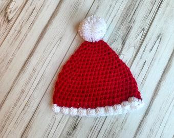 Santa Hat, Sizes Newborn to 6 months, Crochet santa hat, winter hat, photography prop, holiday hat, baby shower gift, newborn hat, christmas