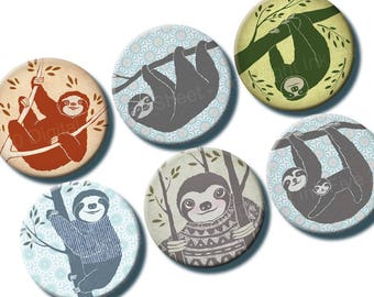 Sloths 1 inch bottlecaps circle Digital Collage Sheet. Handdrawn ink sloth. Whimsical creatures animals. Lazy sloth inked graphics download.