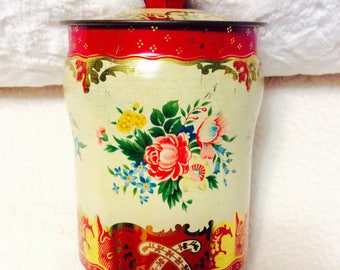 Vintage George Horner Candy Tin Box Red with Knob and Roses Gold