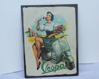 Vintage Vespa  Metal Sign