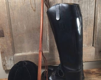 Vintage Equestrian 1950's Riding Crop Leather Covered Riding Bat Brown Leather Horseback Riding Crop