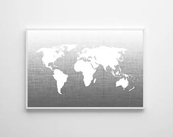 World map navy poster large wall art map navy map wall gray map wall art neutral travel office wall art nursery art world map poster gumiabroncs Image collections