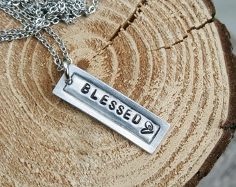 Necklace Blessed Thankful ONE Tag Hand Stamped Rectangle Bar Jewelry Charm Stainless Steel Chain One Word Name Date Pewter Bar