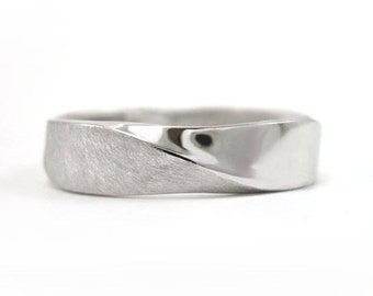 Mobius Wedding band, 5mm Mobius Mens Wedding Ring In 14k White Gold, Mobius Wedding Ring, Modern Contemporary, Mens Wedding Band, Mens Ring