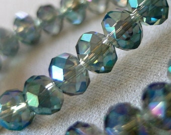"10mm, 10"" Blue AB Faceted Rondelle Crystal Beads, 10mm x 8mm, full 10"" strand, 33 beads"