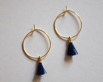 the Laurel in Navy -earrings (small halo hoop earrings with tassel minimal every day 16k gold plated)