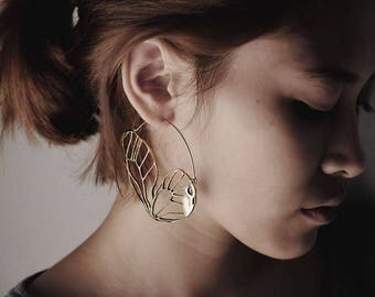 Butterfly Wing Earrings - Hoop Earring - Butterfly Earrings
