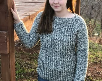 Crochet Pattern for a Women's Sweater - Ribbed front, raglan sleeves, boat neck, almost seamless