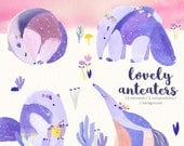 Watercolor Anteater Clipart/ Anteaters/ Cute Anteater/ Anteater and flowers/ Purple Anteater/ Baby Shower Clipart/ Download/ Digital