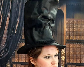 Black Leather Skull Top Hat, Tall
