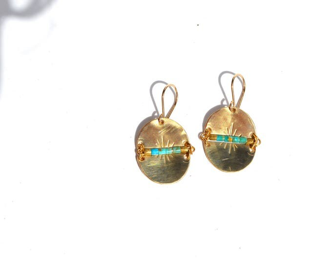 Featured listing image: S O L   Brass Geometric Turquoise Earrings