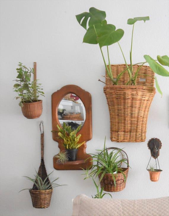 woven rattan bamboo spoons / ladle / planter basket