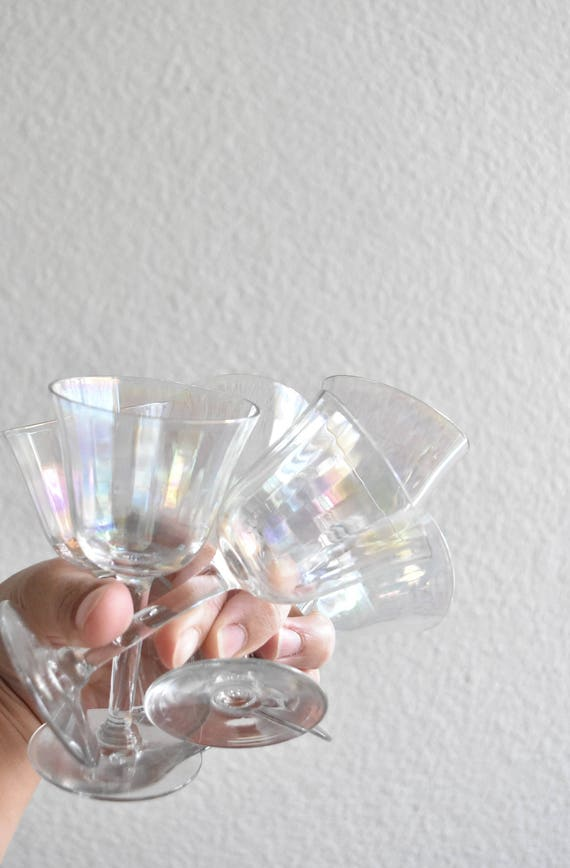 set of 6 iridescent stemware cocktail shot glasses / barware