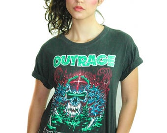Vintage OUTRAGE shirt The Final Day 1991-92 Concert shirt Band Tee Heavy Metal Iron Maiden Exodus Testament Metallica DIO Extremely Rare M