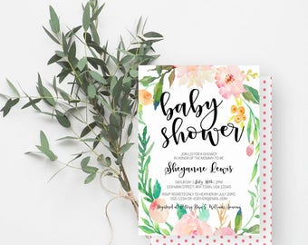 Boho Baby Shower Invitation, Watercolor Flowers, Rustic Shower, Baby Sprinkle Invite, Pink, Green, 801