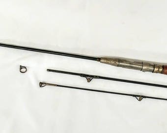 """RARE 1920's 4'9"""" Winchester 3 Pc Steel Fishing Rod Pole Wood Handle 57"""" Long Unique Vintage Fishing Pole Look"""